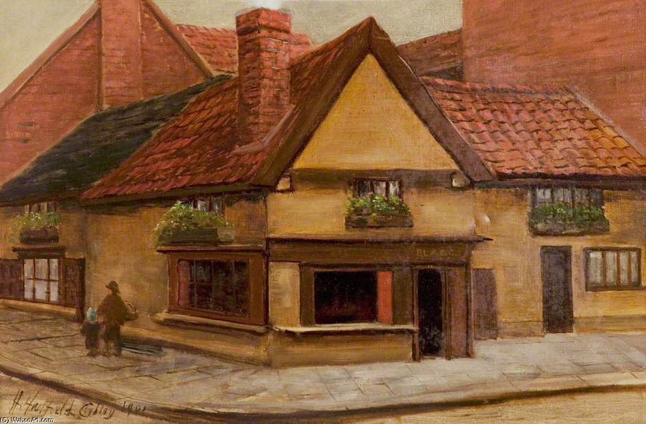 The Old Shop, Newark, Nottinghamshire by Henry Hadfield Cubley (1858-1934, United Kingdom) | Painting Copy | ArtsDot.com