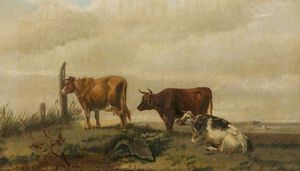 Henry Hadfield Cubley - Three Cattle On Open Land