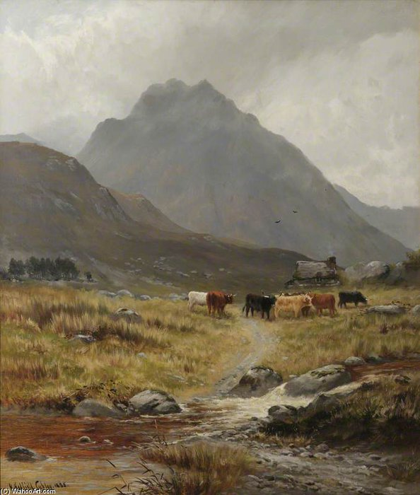 Trefan - Highland Cattle In A Glen by Henry Hadfield Cubley (1858-1934, United Kingdom)
