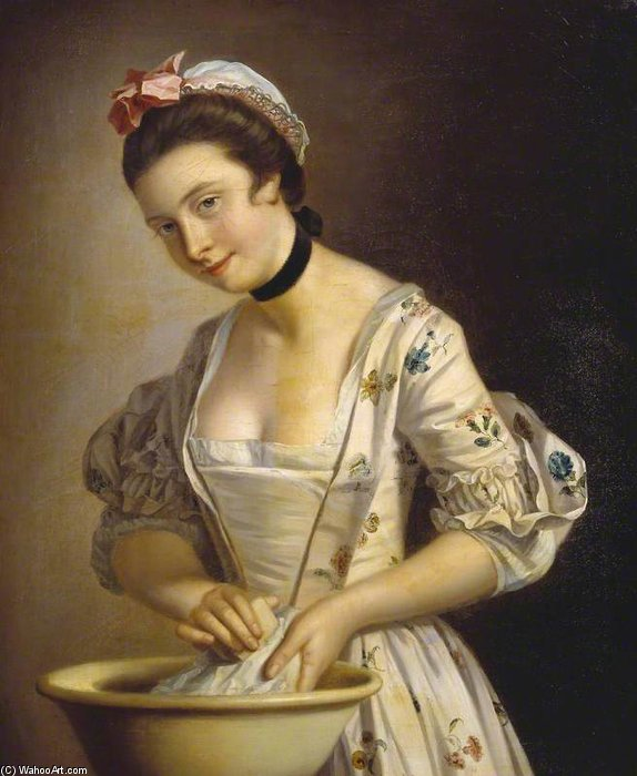 A Lady`s Maid Soaping Linen by Henry Robert Morland (1716-1797, United Kingdom) | Museum Quality Reproductions | ArtsDot.com