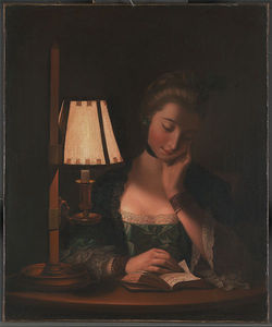 Henry Robert Morland - Woman Reading By A Paper-bell Shade