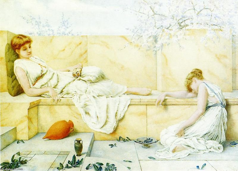 Two Classical Figures Reclining by Henry Ryland (1856-1924, United Kingdom) | ArtsDot.com