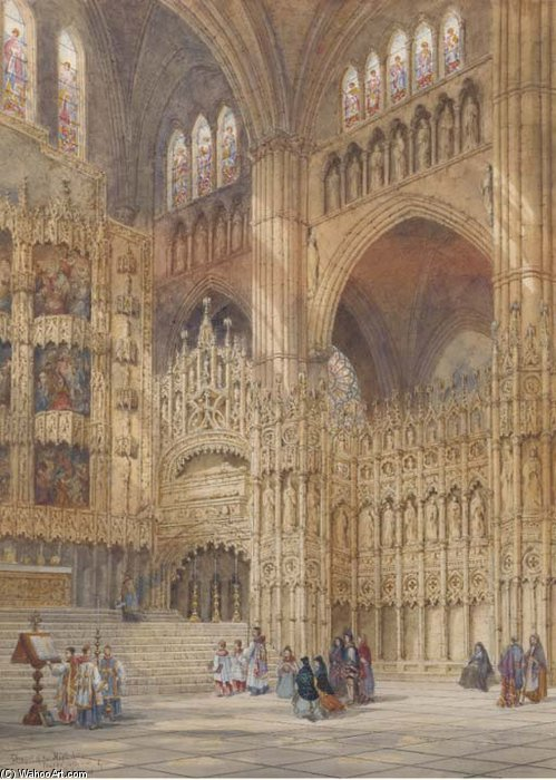 Chapel Of The High Altar, Toledo Cathedral, Spain by Henry Thomas Schafer (1873-1915, France)