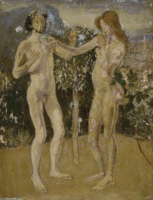 Adam And Eve by Henry Tonks (1862-1937, United Kingdom) | Oil Painting | ArtsDot.com