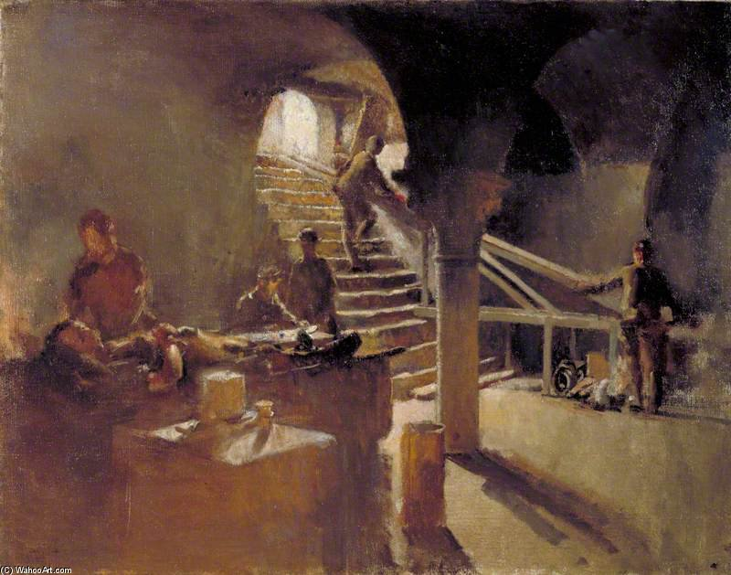An Underground Casualty Clearing Station by Henry Tonks (1862-1937, United Kingdom) | Museum Quality Reproductions | ArtsDot.com