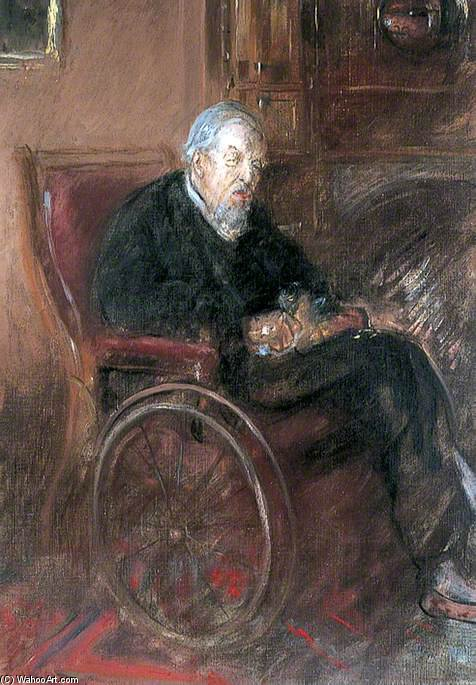 Tonk`s Father In A Wheelchair by Henry Tonks (1862-1937, United Kingdom) | Painting Copy | ArtsDot.com