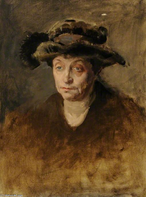 Order Painting Copy : Portrait Of A Woman In A Feathered Hat by Henry Tonks (1862-1937, United Kingdom) | ArtsDot.com