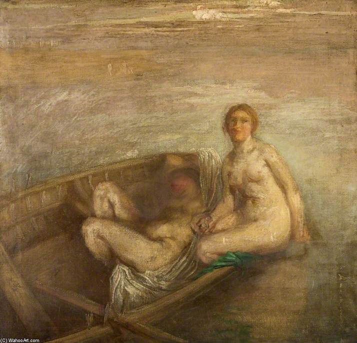 Two Girls In A Boat by Henry Tonks (1862-1937, United Kingdom) | Museum Art Reproductions Henry Tonks | ArtsDot.com