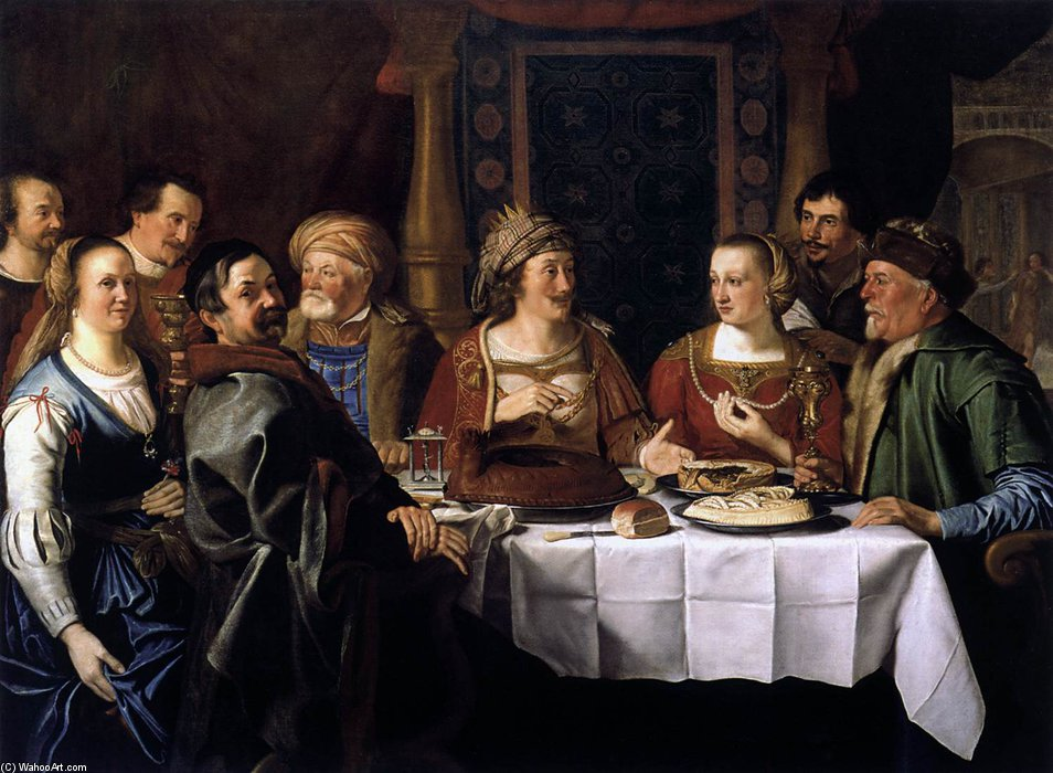 Order Oil Painting : Wedding Dinner by Jacob Gerritszoon Cuyp (1594-1652, Netherlands) | ArtsDot.com