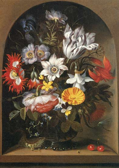 Bouquet Of Flowers In A Niche by Jacob Marrel (1614-1681, Germany)