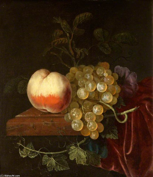 A Peach And Grapes On A Ledge by Jacob Van Walscapelle (1644-1727, Netherlands)