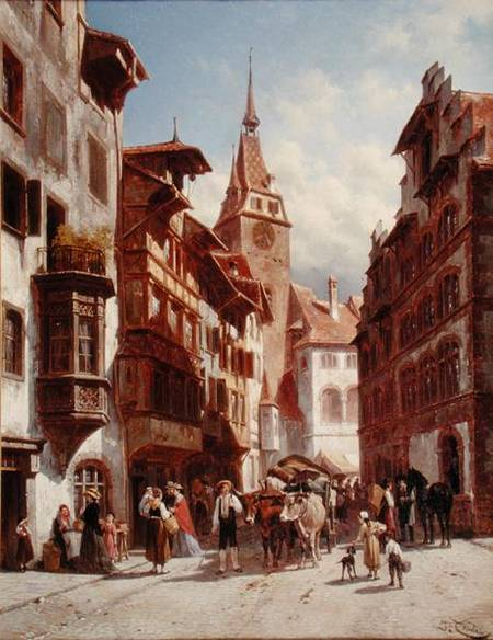 Figures On The Street In Zug by Jacques François Carabain (1834-1933)