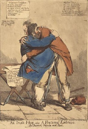 An Irish Hug Alias A Fraternal Embrace by James Arthur O Connor (1792-1841, Ireland) | Museum Quality Reproductions | ArtsDot.com