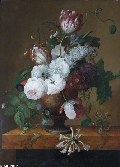 Tulips, Honeysuckle, Peonies And Roses In An Urn by Jan Frans Van Dael (1764-1840, Belgium)