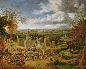 Jan Griffier - A Fete And View Of A City (oil On Copper)