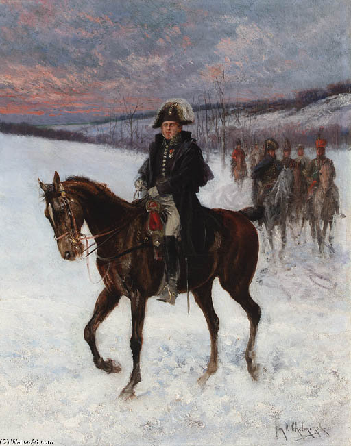 Marshal Ney On Horseback; Campaign In Russia by Jan Van Chelminski (1851-1925, Poland)