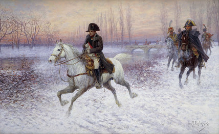 Napoleon At The Head Of A Troop Of Cavalry by Jan Van Chelminski (1851-1925, Poland)