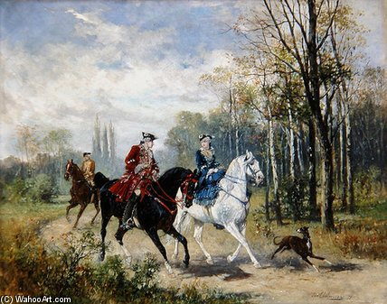 Riding by Jan Van Chelminski (1851-1925, Poland)