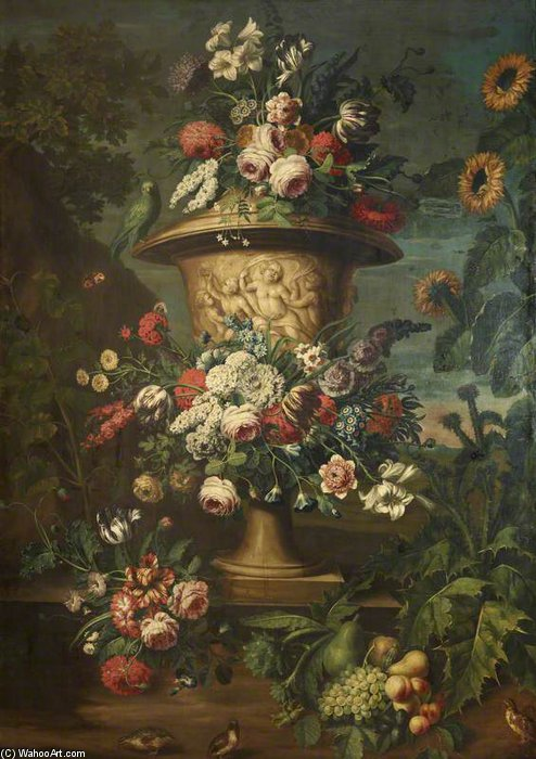 An Urn Filled And Garlanded With Summer Flowers by Jean Baptiste Belin De Fontenay (1636-1699, France) | Art Reproduction | ArtsDot.com