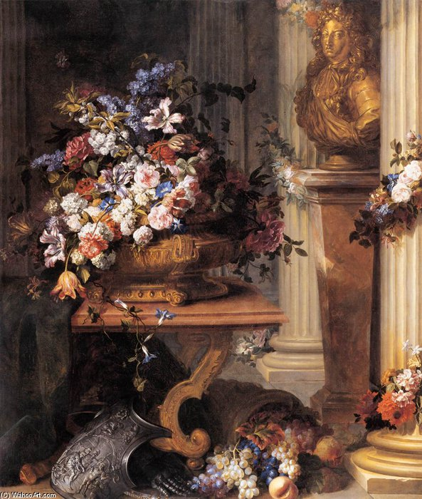 Flowers In A Gold Vase, Bust Of Louis Xiv, Horn Of Plenty And Armour by Jean Baptiste Belin De Fontenay (1636-1699, France) | Museum Art Reproductions | ArtsDot.com