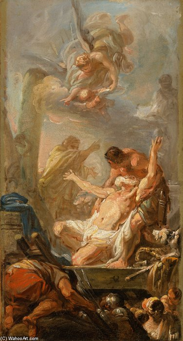 Scene From The Martyrdom Of St. Andrew by Jean Baptiste Deshays (1729-1765, France)