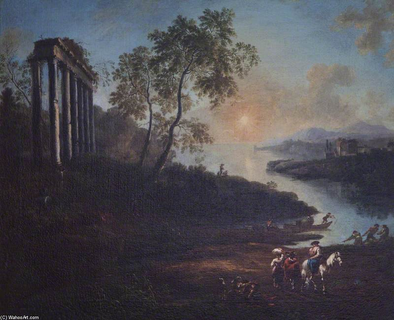 An Evening Landscape With An Estuary And A Ruined Temple by Jean Baptiste Lallemand (1716-1803, France)