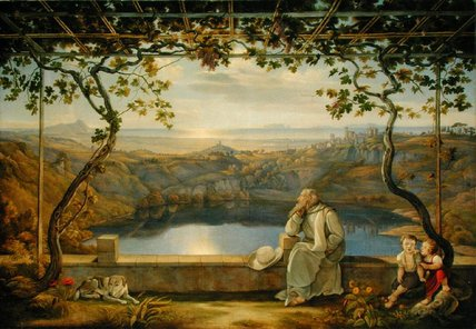 A Monk On A Terrace At The Nemi Lake,, 1818 by Joachim Faber (1778-1846, Germany) | Art Reproduction | ArtsDot.com