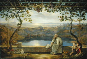 Joachim Faber - Monk Sitting On A Terrace Over..