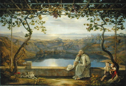 Monk Sitting On A Terrace Overlooking Lake Nemisee by Joachim Faber (1778-1846, Germany)