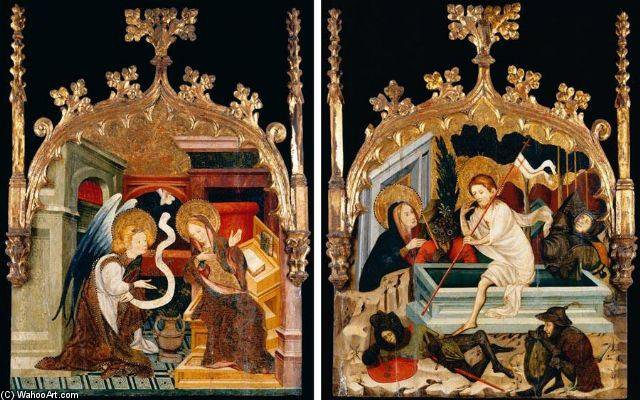 Annunciation And Resurrection by Joan Mates (1370-1431, Spain)
