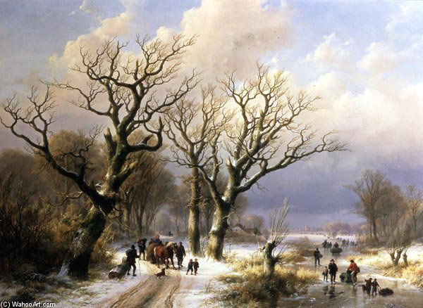 Order Museum Quality Reproductions : Wintry Avenue by Johann Bernard Klombeck (1815-1893, Germany) | ArtsDot.com