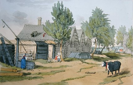 A Russian Village,, 1804 by John Augustus Atkinson (1775-1833, United Kingdom)