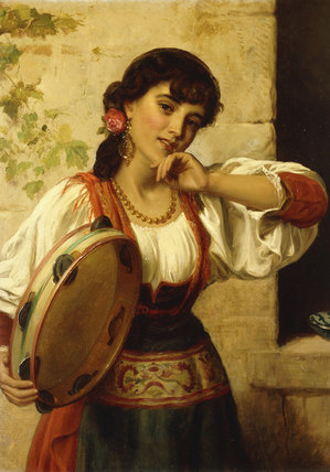 Buy Museum Art Reproductions | A Neopolitan Dancer by John Bagnold Burgess (1829-1897, United Kingdom) | ArtsDot.com
