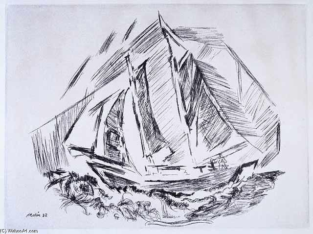 Sailboat by John Marin (1870-1953, United States) | Museum Quality Reproductions | ArtsDot.com