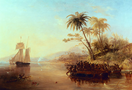 A British Surveying Ship In The South Pacific by John Wilson Carmichael (1800-1868, United Kingdom)