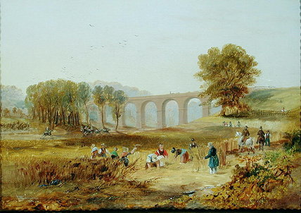 Corby Viaduct, The Newcastle And Carlisle Railway by John Wilson Carmichael (1800-1868, United Kingdom)