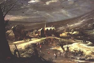 Joos De Momper - Countryside With Skaters