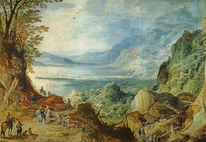 Joos De Momper - Landscape With Sea And Mountains