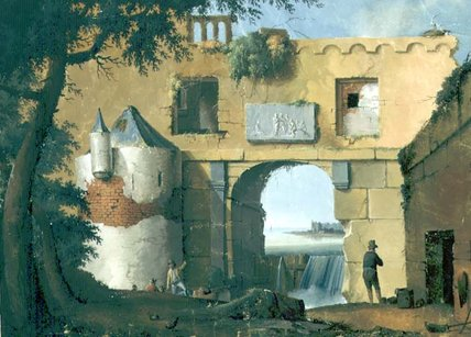 Buy Museum Art Reproductions | Ruins In An Italian Landscape by Joseph Augustus Knip (1777-1847, Netherlands) | ArtsDot.com