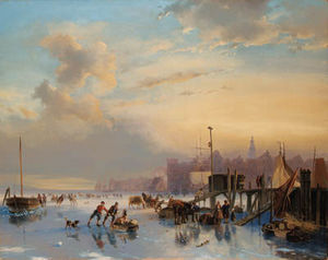 Nicolaas Johannes Roosenboom - Skaters On The Ij, Amsterdam