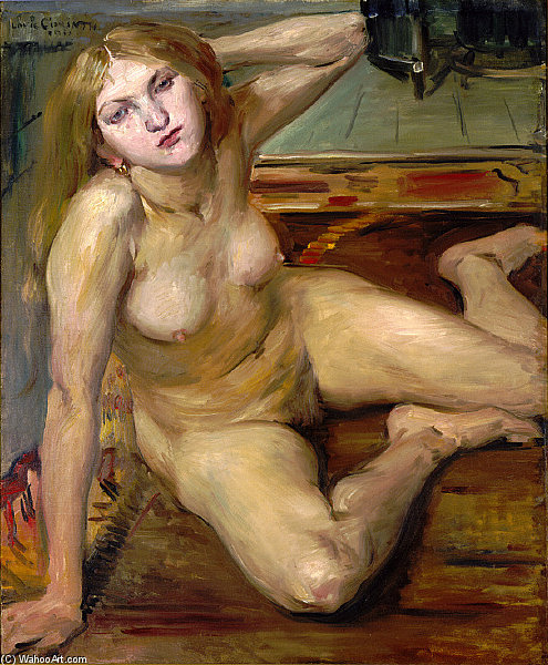 Nude Girl On A Rug by Lovis Corinth (Franz Heinrich Louis) (1858-1925, Netherlands)