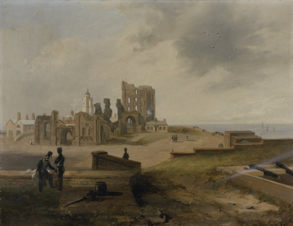 Tynemouth Priory From The East by John Wilson Carmichael (1800-1868, United Kingdom)
