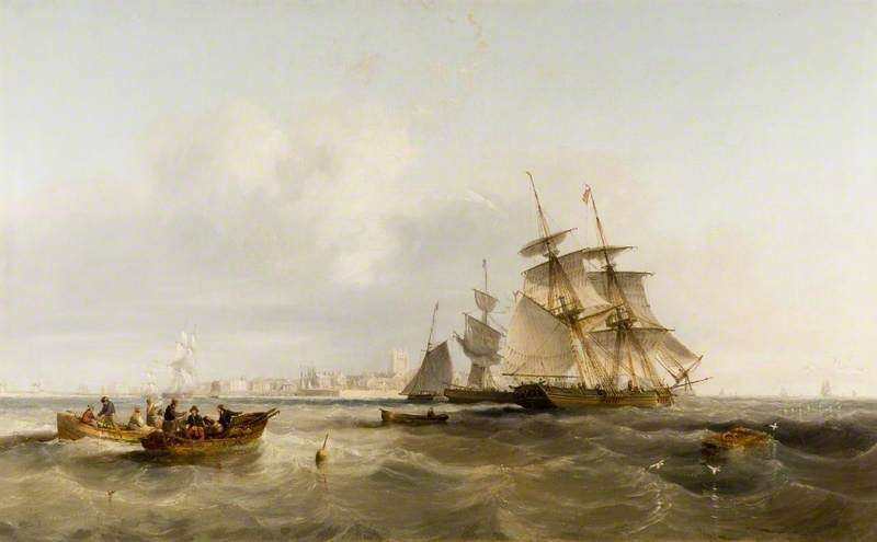 Buy Museum Art Reproductions : Old Hartlepool by John Wilson Carmichael (1800-1868, United Kingdom) | ArtsDot.com