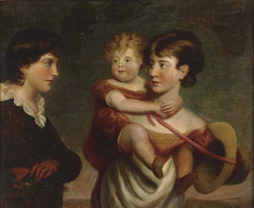 Portrait Of A Girl Carrying A Child And A Boy by George Henry Harlow (1787-1819, United Kingdom)