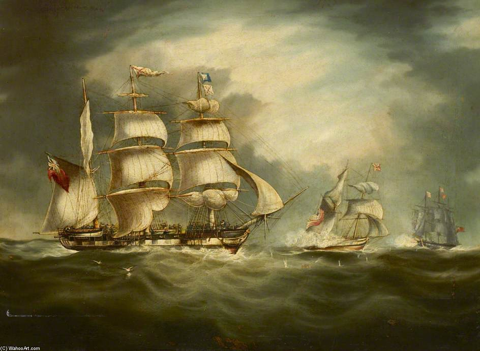 Capture Of The 'gypsy' by Thomas Buttersworth (1768-1842, United Kingdom)