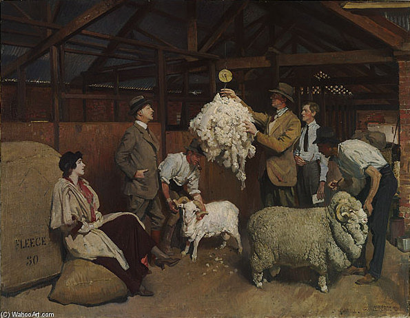 Weighing The Fleece by George Lambert (1873-1930, Russia) | ArtsDot.com