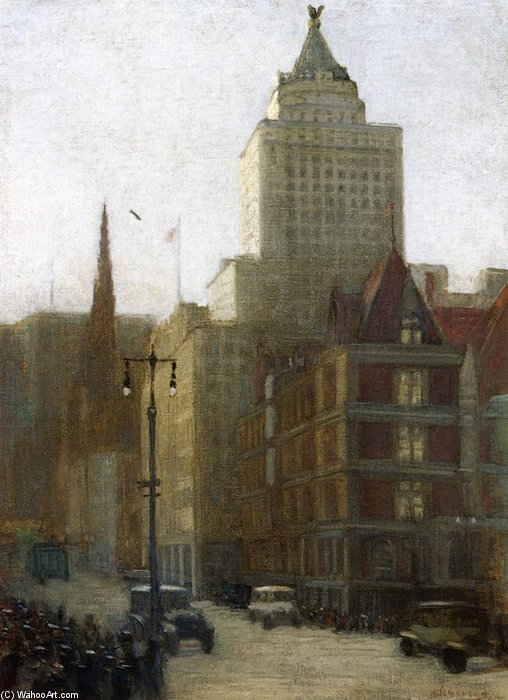 57th Street At Fifth Avenue by Aaron Harry Gorson (1872-1933, Lithuania)