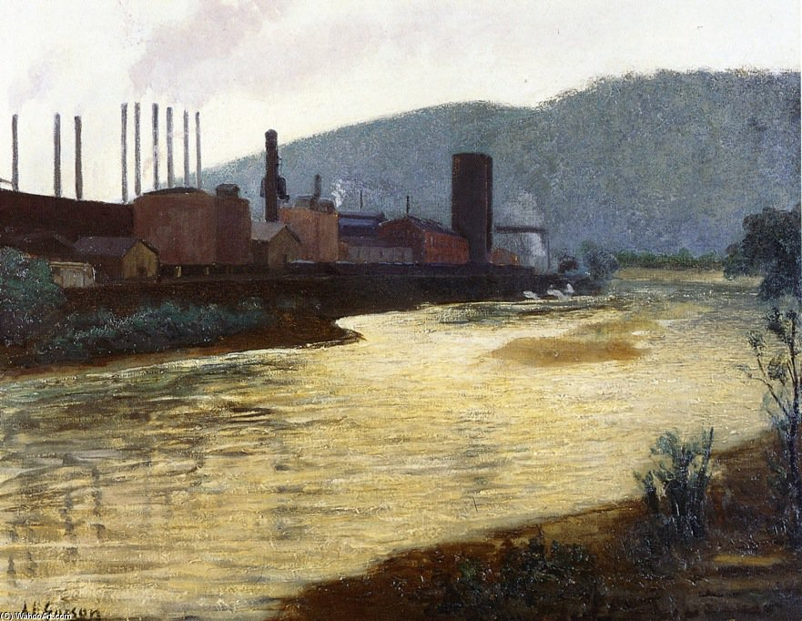 Monongahela River, Pittsburgh, Jones And Laughlin Steel Plant by Aaron Harry Gorson (1872-1933, Lithuania) | Oil Painting | ArtsDot.com