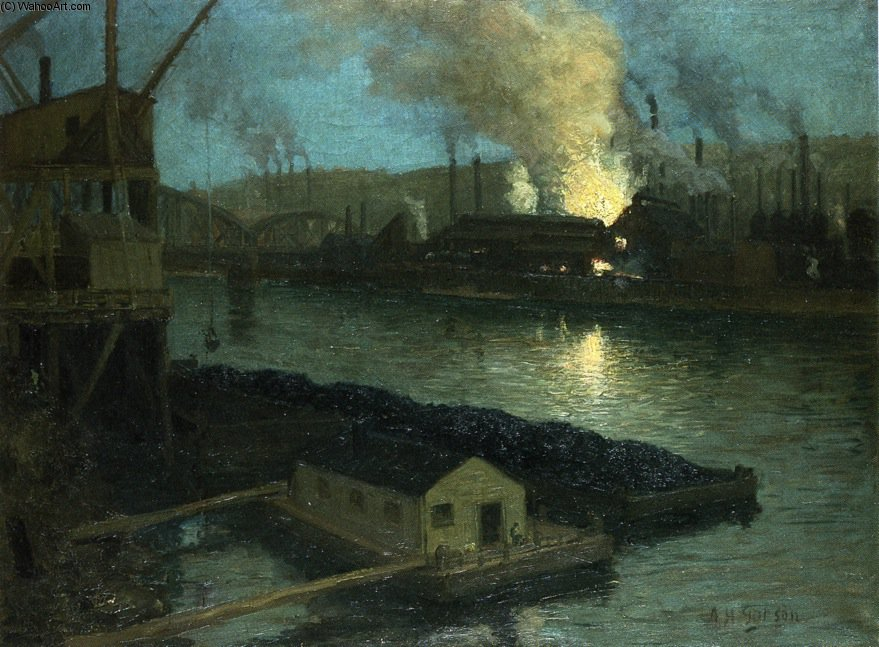 Pittsburgh Mills At Night by Aaron Harry Gorson (1872-1933, Lithuania)