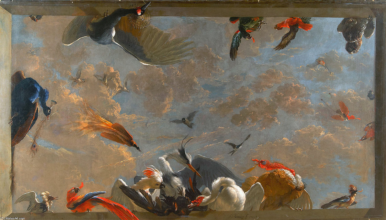 Ceiling Piece With Birds by Abraham Bisschop (1670-1729, Netherlands)